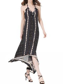 Bohemian Printed Asymmetric Long Dress