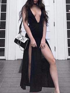 Deep V Neck M-Slit Sexy Black Dress