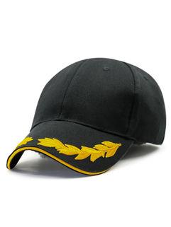 Black Leaf Embroidery Baseball Hat