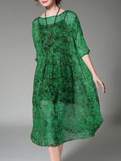 Plus Size O Neck Floral Two Pieces Dress