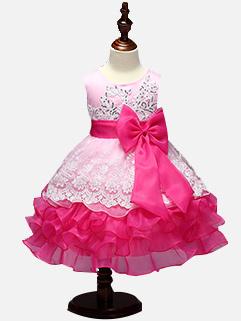 Sequined Color Contrast Bow Gauze Princess Dress