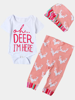 Pink Letter Print Onesie With Pants Suits For Baby