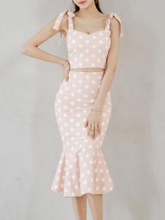 Sweet Style Dots Fishtail Pencil Dress