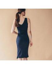 Color Block Slit Front Fashion Pencil Dress