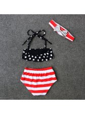 Three Pieces Stars Striped Print Baby Suits