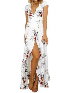 Deep V Neck High Slit Floral Long Dresses