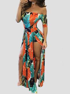 Sexy Slit Printed Off Shoulder Dresses