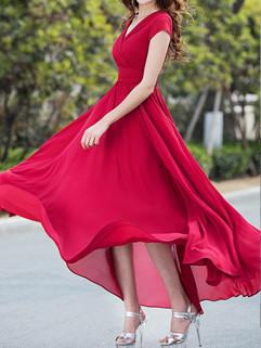 Euro Style V Neck Red Long Dresses