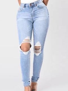 Fashion Ripped Denim Straight Pants
