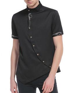 Simple Design Embroidery Irregular Shirts