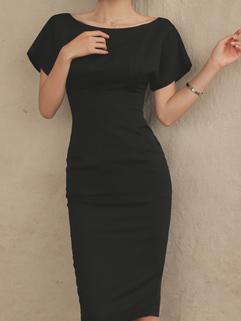 Hot Sale Boat Neck Black Office Pencil Dress