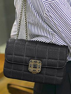 Plaid Pattern Metal Chain Hasp Shoulder Bag