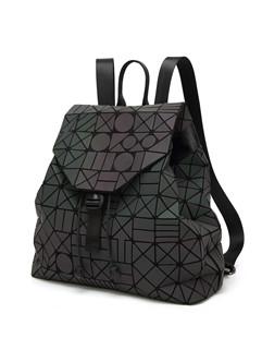 Korean Chic Geometric Hasp Black Backpack