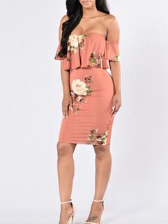 Flouncing Upper Sexy Floral Print Off Shoulder Dress
