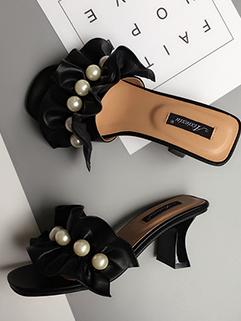 Fashion Pearls Ruffles Chunky Slippers