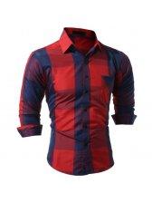 Fashion Check Turn Down Collar Men Shirts