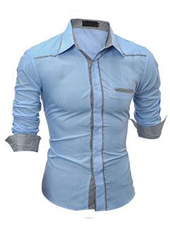 Contrast Color Trim Fashion Men Patchwork Shirt