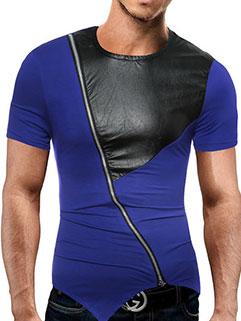 PU Panel Zipper Decor Asymmetric T-shirts