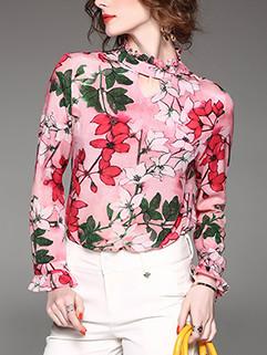 Euro Floral Chiffon Blouse Design