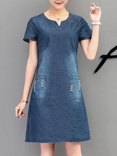 Korean Short Sleeve Denim Dress For Woman