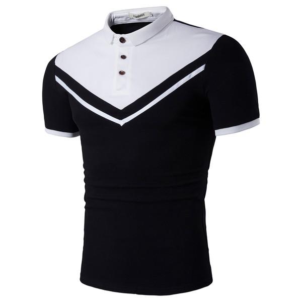 Europe Fashion Nabla Print Patchwork Polo Shirt
