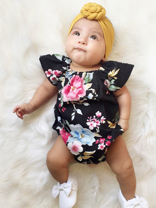 Floral O Neck Summer Girls Rompers