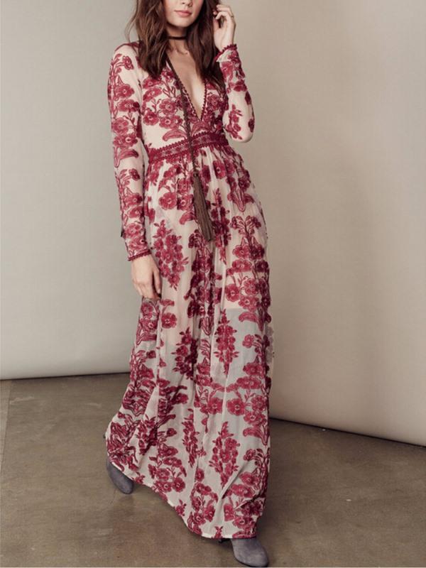 Embroidered Deep V Neck Floral Party Dress