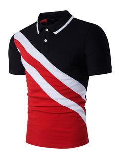 Fashion Stripe Print Patchwork ButtonT-Shirts