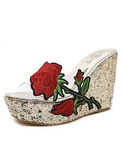 Rose Embroidery Platform Wedge Flip Flops