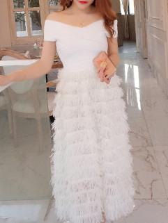 Off Shoulder Gauze Patchwork Feather Long Dresses