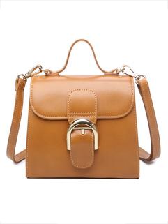 Solid Color Hasp OL Style Shoulder Bag