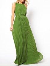 Bohemian O Neck Pleated Chiffon Long Dresses