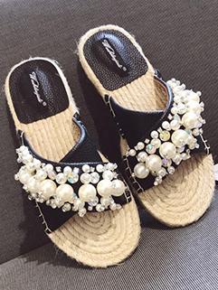 Pearls Studded Hemp Rope Slippers