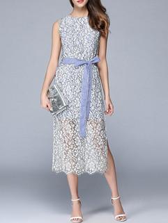 Elegant O Neck Bandage Slit Lace Dress