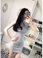 Cheap Pierced Stand Collar Mini Dress