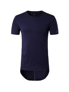 Hip Hop Solid Zip Back Long T-Shirt
