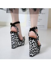 Leopard Platform Wedge Sandals