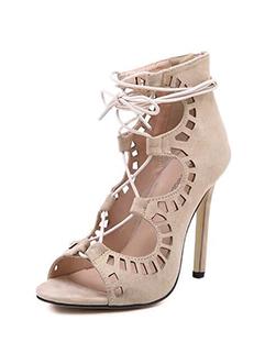 Hollow Lace Up Stiletto Sandals