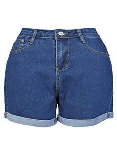 European Style Solid Color Denim Shorts