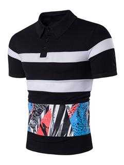 Men Prints Color Block Short Sleeve Polo Shirt