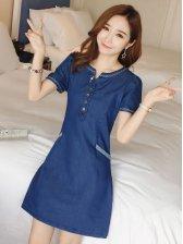Korean Short Sleeve Pocket Denim Dress