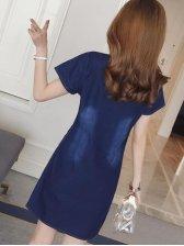 New Short Sleeve A Line Denim Dress