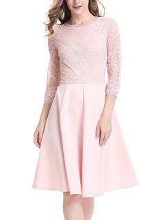 Hot Sale O Neck Lace Patchwork Elegant Dress
