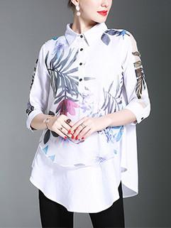 Unique Print Asymmetrical Woman Blouse