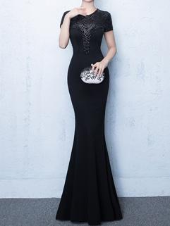 Studded Short Sleeve Fitting Fishtail Dress