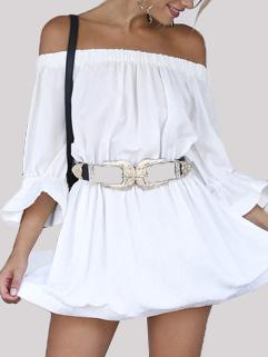 Sexy Off Shoulder Belt Buckle Dresses