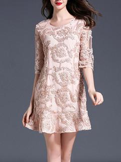 Ruffles Hem Noble Lace Floral Dresses