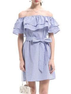 Boat Neck Stripe Bandage Flounced Pretty Dresses