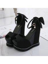 Sexy Peep Toe Solid Platform Wedge Sandals