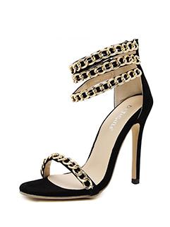 Stylish Metal Chain Thin Straps Stiletto Sandals